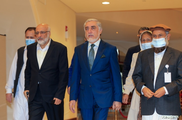 Abdullah Abdullah, the Chairman of Afghanistan's High Council for National Reconciliation, arrives for Afghan peace talks in…