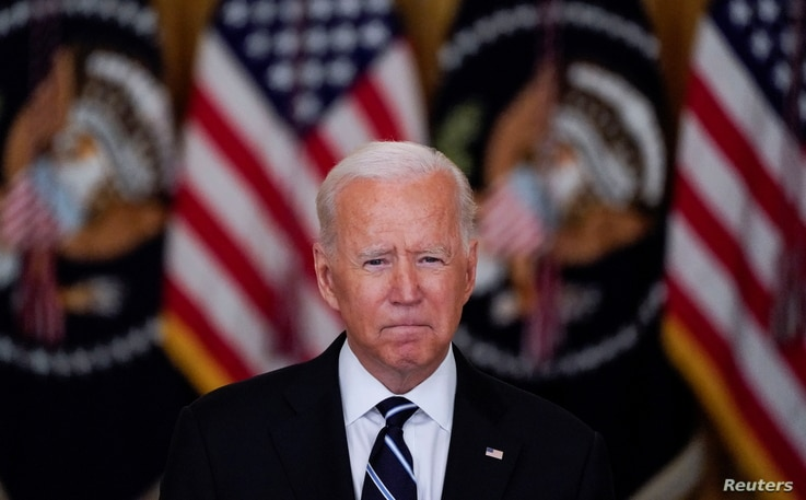 U.S. President Joe Biden delivers remarks on the coronavirus disease (COVID-19) response and  vaccination program during a…