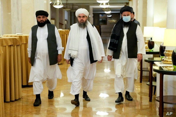 From left, Suhil Shaheen, Mawlawi Shahabuddin Dilawar and Mohammad Naim, members of a political delegation from the Afghan…