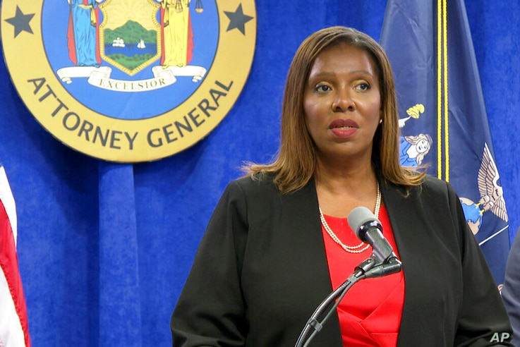New York State Attorney General Letitia James speaks at a press conference, Tuesday, Aug. 3, 2021, in New York. An...