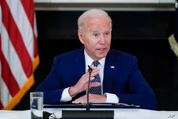 President Joe Biden speaks during a meeting with Asian American, Native Hawaiian, and Pacific Islander civil rights leaders, in the State Dining Room of the White House, Aug. 5, 2021, in Washington.