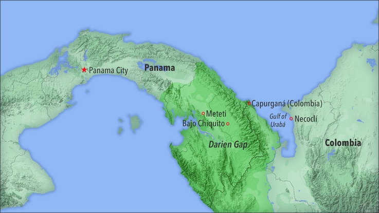 Map of Panama's Darien Gap, a perilous stretch of tropical forest bordering Colombia to the east. It's a migratory obstacle.