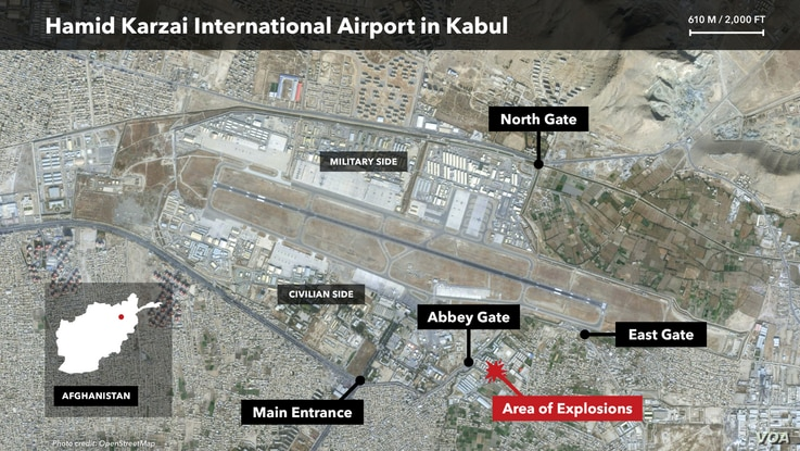 A map of the airport in Kabul, Afghanistan, showing the location of two explosions on Aug. 26, 2021.