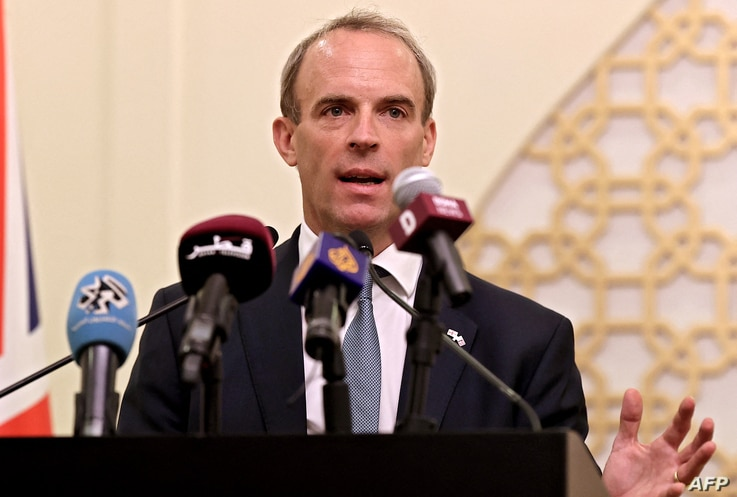 Britain's Foreign Secretary Dominic Raab speaks during a joint press conference with his Qatari counterpart, in the capital…