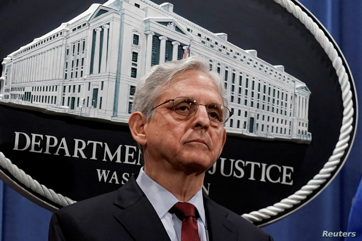 FILE PHOTO: U.S. Attorney General Merrick Garland attends a news conference at the Department of Justice in Washington, D.C., U…