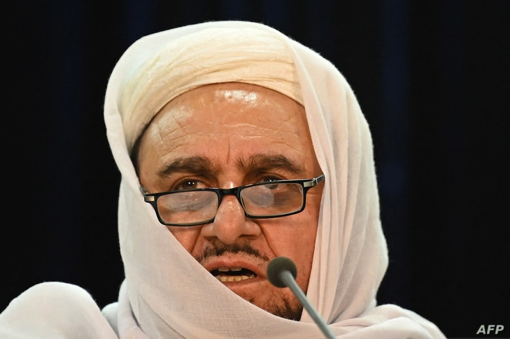 Taliban's acting Higher Education Minister Abdul Baqi Haqqani speaks during a press conference in Kabul, Afghanistan, Sept. 12, 2021.