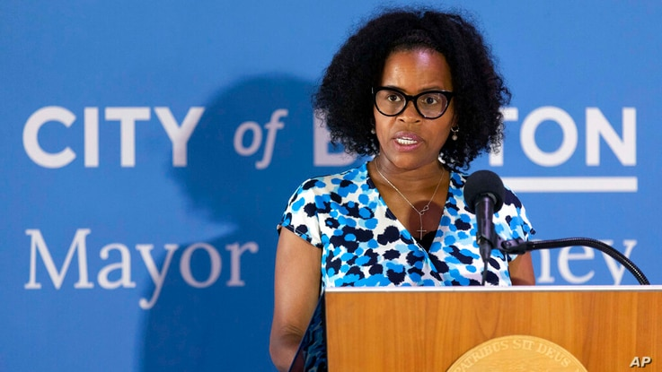 FILE- In this Aug. 12, 2021 file photography, Boston's acting Mayor Kim Janey speaks during a news conference at City Hall in...