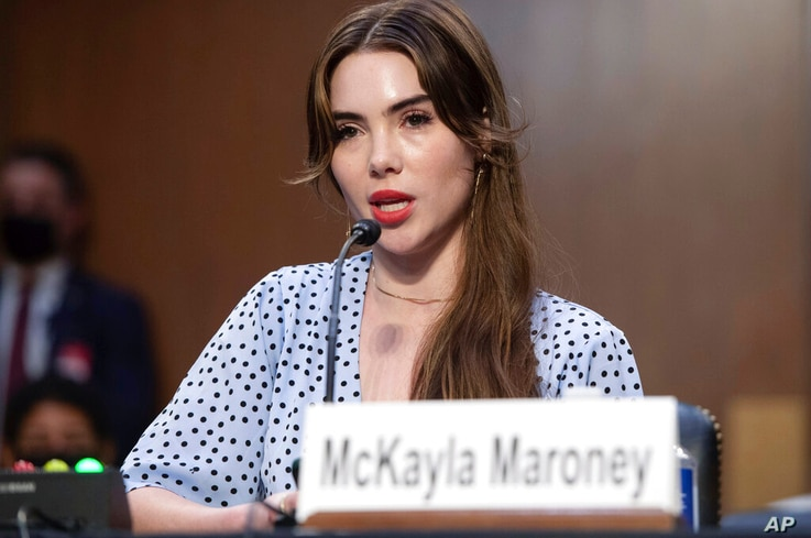 United States Olympic gymnast McKayla Maroney testifies during a Senate Judiciary hearing about the Inspector General's report…