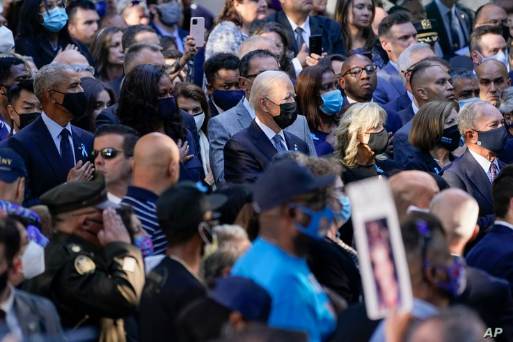 President Joe Biden, first lady Jill Biden, former President Barack Obama, former first lady Michelle Obama, and others attend a ceremony marking the 20th anniversary of the Sept. 11, 2001, terrorist attacks in New York, Sept. 11, 2021.