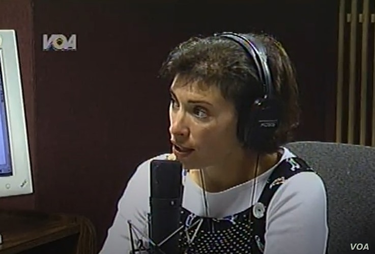 Barbara Klein anchors live coverage of the Sept. 11, 2001, terrorist attacks on a radio/TV/internet simulcast of VOA News Now.