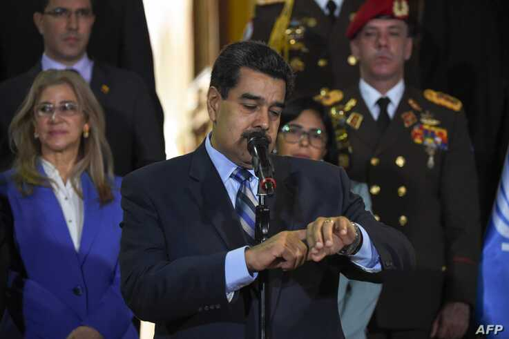 Venezuelan President Nicolas Maduro speaks after meeting Chilean High Commissioner for Human Rights Michelle Bachelet at Miraflores Presidential Palace in Caracas, on June 21, 2019.