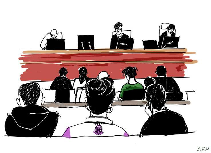 This court sketch created on July 30, 2019 shows US rapper A$AP Rocky (middle row, in green shirt) during his trial at the district court in Stockholm. The 30-year-old artist, whose real name is Rakim Mayers, was arrested on July 3, 2019 along with…
