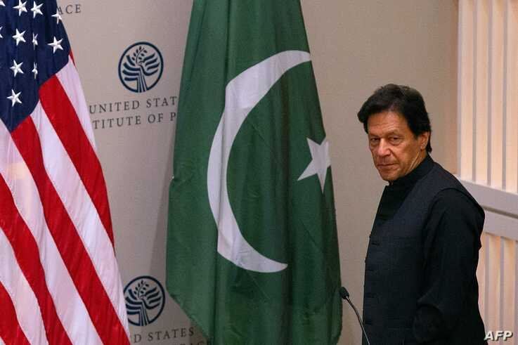 Pakistani Prime Minister Imran Khan arrives to speak at the United States Institute of Peace (USIP) in Washington, DC, on July 23, 2019.