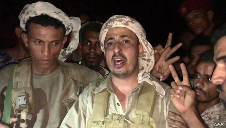 This AFPTV screen grab from a video made on August 10, 2019, shows Mokhtar al-Noubi, chief of the 5th battalion of the southern Yemen separatist army commanded by Aidarous al-Zoubeidi, speaking before a camera in Yemen's second city of Aden…