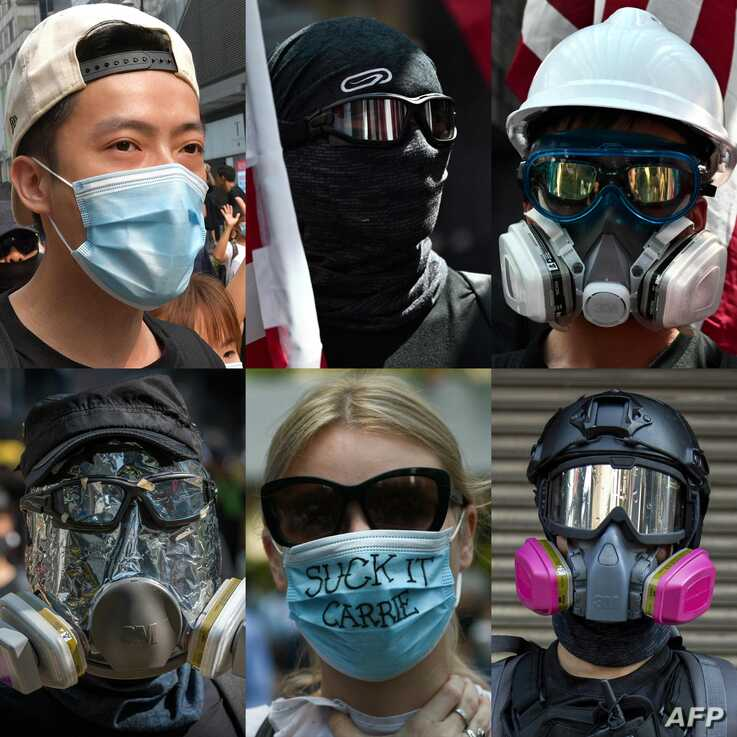 (COMBO) This combination of pictures created on October 04, 2019 shows files pictures of protesters wearing face masks during…