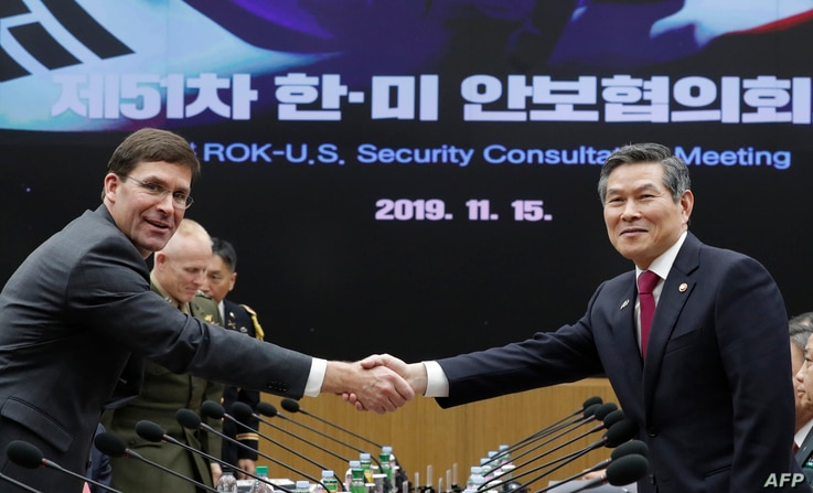 US Defense Secretary Mark Esper (L) shakes hands with South Korean Defence Minister Jeong Kyeong-doo (R) for the media prior to…