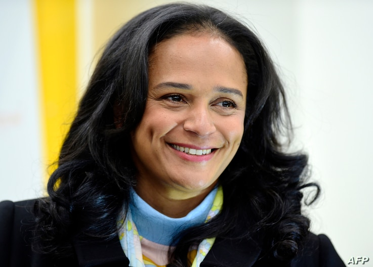 (FILES) In this file photograph taken on February 5, 2018, Angolan businesswoman Isabel dos Santos looks on as she visits the…
