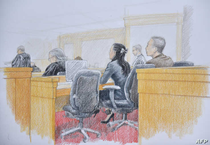 This courtroom sketch by Jane Wolsak and released to AFP by the artist, shows Huawei chief financial officer Meng Wanzhou seen…