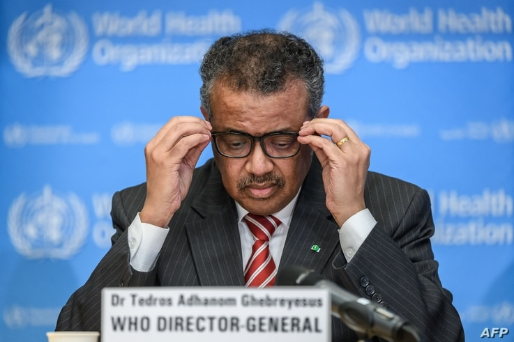 CORRECTION - World Health Organization (WHO) Director-General Tedros Adhanom Ghebreyesus attends a daily press briefing on…