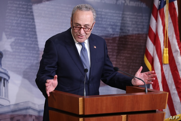 WASHINGTON, DC - APRIL 21: Minority Leader Charles Schumer (D-NY) talks to reporters U.S. Capitol April 21, 2020 in Washington,…