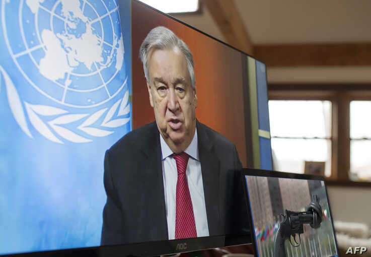 In this handout image released by the United Nations, UN Secretary-General Antonio Guterres holds a virtual press conference on…