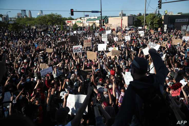 MINNEAPOLIS, MINNESOTA - MAY 30: Demonstrators gather to protest the killing of George Floyd on May 30, 2020 in Minneapolis,…