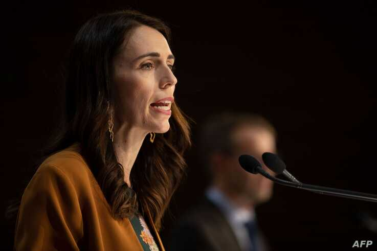 New Zealand's Prime Minister Jacinda Ardern speaks during a press conference about the COVID-19 coronavirus at Parliament in…