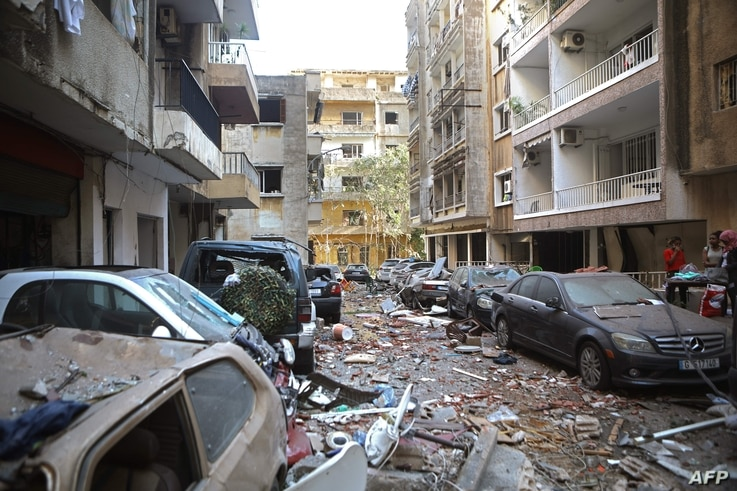 A view of the partially destroyed Beirut neighbourhood of Mar Mikhael on August 5, 2020 in the aftermath of a massive explosion…