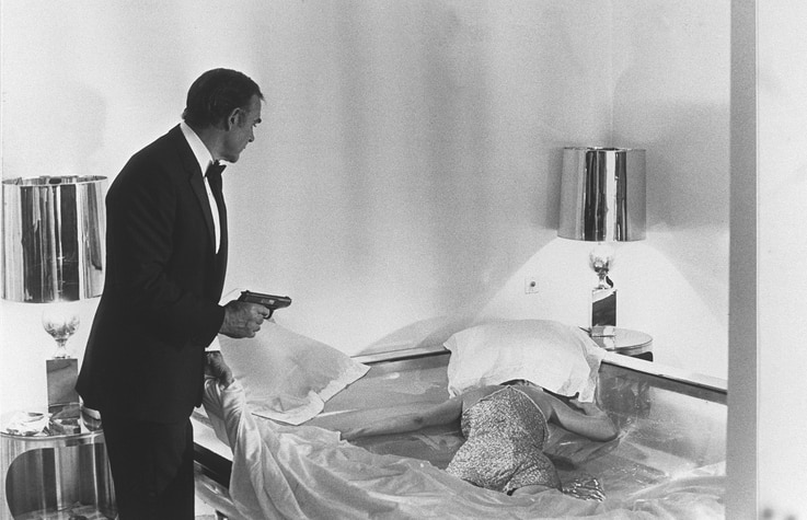 """(FILES) In this file photo taken on October 22, 1982 British actor Sean Connery is seen during the making of the film """"Never…"""