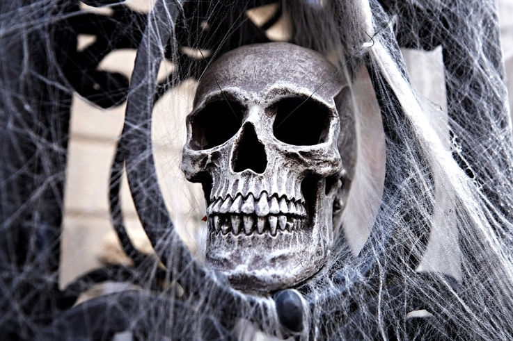 NEW YORK, NEW YORK - OCTOBER 30: A skull and spider webs are part of a Halloween display in front of an Upper East Side home on…