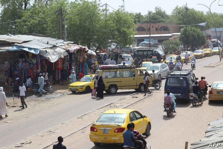A general view of a street in N'Djamena, Chad, on April 21, 2021. - In the aftermath of the death of Chad president Idriss Deby…
