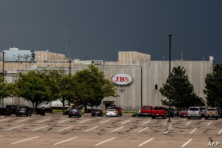 GREELEY, CO - JUNE 01: A JBS Processing Plant stands dormant after halting operations on June 1, 2021 in Greeley, Colorado. JBS...