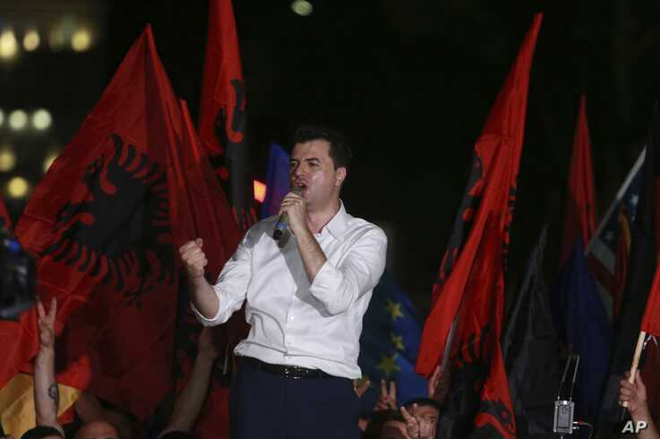 Main opposition Democratic Party leader Lulzim Basha delivers a speech during an antigovernment rally in Tirana, Friday, June 21, 2019. The opposition is boycotting the local elections planned for June 30 and has threatened to disrupt them. (AP…