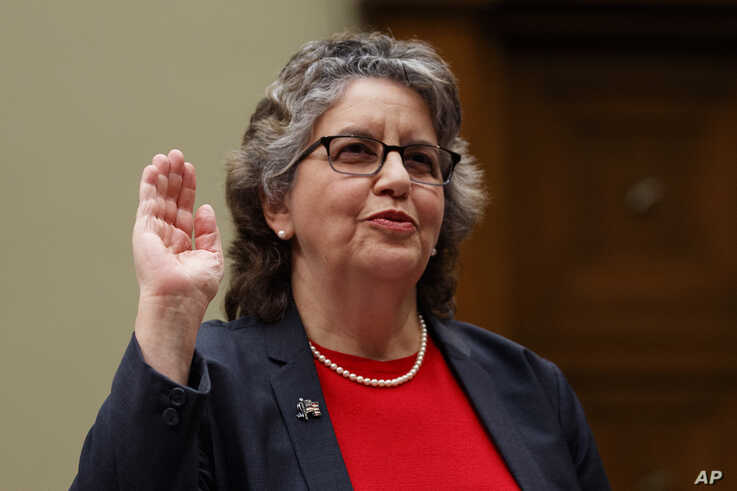 "U.S. Federal Election Commission Commissioner Ellen Weintraub is sworn in to testify on Capitol Hill in Washington, Wednesday, May 22, 2019, before the House Oversight and Reform National Security subcommittee hearing on ""Securing U.S. Election…"
