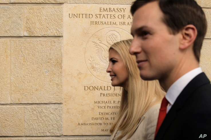 FILE - U.S. President Donald Trump's daughter Ivanka, left, and White House senior adviser Jared Kushner attends the opening ceremony of the new U.S. Embassy in Jerusalem, Monday, May 14, 2018.