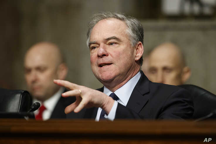 """Senate Armed Services Committee member Sen. Tim Kaine, D-Va., speaks during a Senate Armed Services Committee hearing on """"Nuclear Policy and Posture"""" on Capitol Hill in Washington, Thursday, Feb. 29, 2019. (AP Photo/Carolyn Kaster)"""