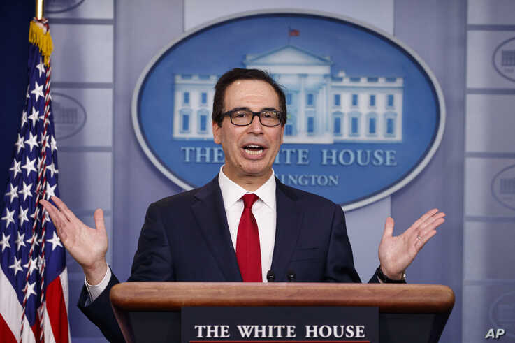 Treasury Secretary Steve Mnuchin speaks during a news briefing at the White House, in Washington,  July 15, 2019.
