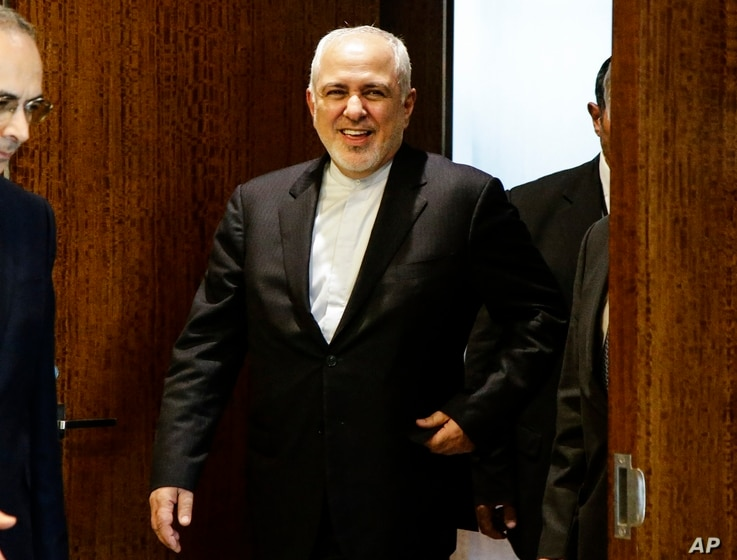 Iranian Foreign Minister Mohammad Javad Zarif arrives for a meeting with U.N. Secretary General Antonio Guterres at United Nations headquarters Thursday, July 18, 2019. (AP Photo/Frank Franklin II)
