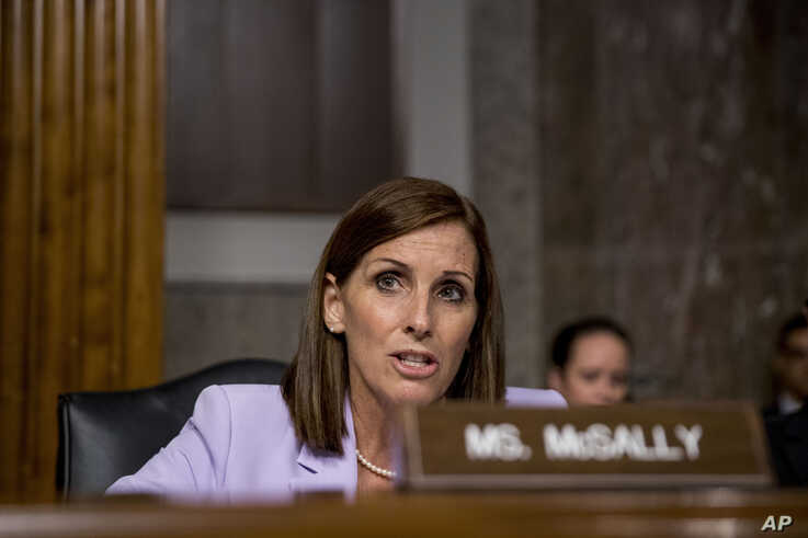 Sen. Martha McSally, R-Ariz., speaks during a Senate Armed Services Committee hearing on Capitol Hill in Washington, Tuesday, July 30, 2019, for the confirmation hearing of Gen. John Hyten to be Vice Chairman of the Joint Chiefs of Staff. (AP Photo…