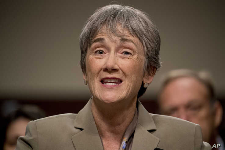 Former Secretary of the Air Force Heather Wilson speaks before the Senate Armed Services Committee hearing on Capitol Hill in Washington, July 30, 2019, for the confirmation hearing for Gen. John Hyten to be Vice Chairman of the Joint Chiefs of Staff.