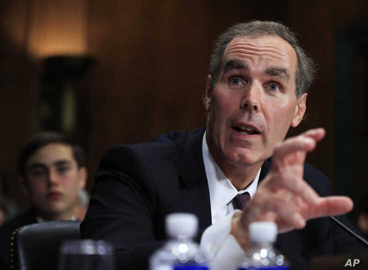 Eric Dreiband testifies before a Senate Judiciary Committee hearing on Capitol Hill in Washington, Wednesday, Sept. 6, 2017, regarding Dreiband's nomination to be Assistant Attorney General, Civil Rights Division. (AP Photo/Manuel Balce Ceneta)