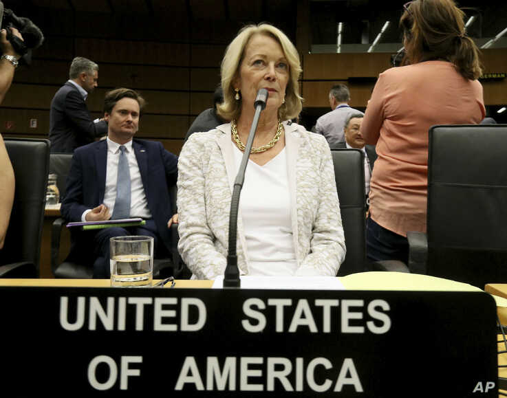 U.S. Ambassador Jackie Wolcott waits for the start of the International Atomic Energy Agency, IAEA, board of governors meeting at the International Center in Vienna, Austria, Wednesday, July 10, 2019. (AP Photo/Ronald Zak)