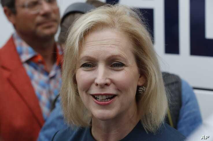 Democratic presidential candidate Sen. Kirsten Gillibrand, D-N.Y., speaks during a town hall meeting during a campaign stop in Bloomfield Hills, Mich. (AP Photo/Carlos Osorio)