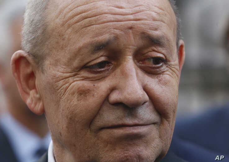 French Foreign Minister Jean-Yves Le Drian, answers media questions in Kiev, Ukraine, Thursday, May 30, 2019(AP Photo/Efrem Lukatsky)