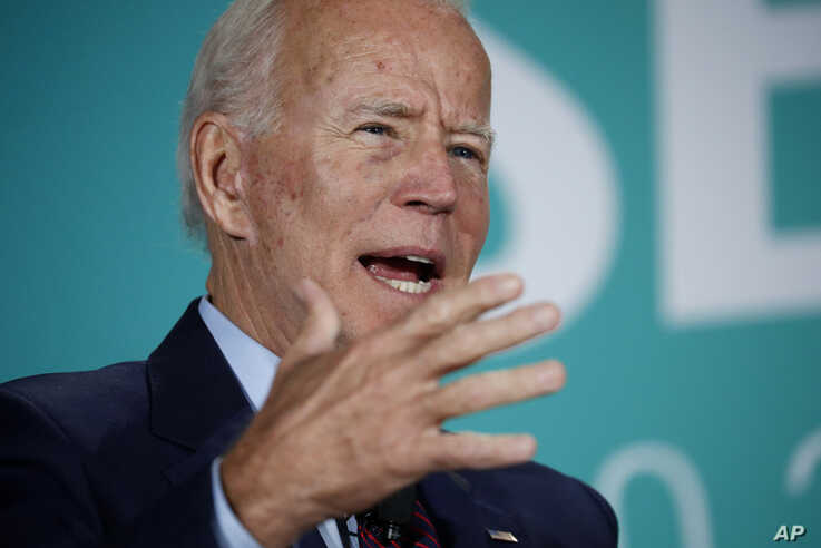 Former Vice President and Democratic presidential candidate Joe Biden speaks during a public employees union candidate forum, Aug. 3, 2019, in Las Vegas.