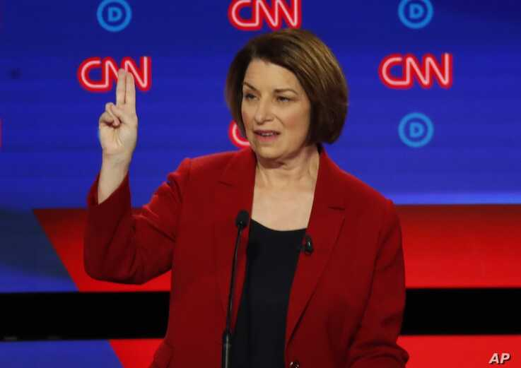 Sen. Amy Klobuchar, D-Minn., speaks during the first of two Democratic presidential primary debates hosted by CNN, July 30, 2019, at the Fox Theatre in Detroit.
