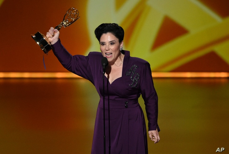 "Alex Borstein accepts the award for outstanding supporting actress in a comedy series for ""The Marvelous Mrs. Maisel"" at the 71st Primetime Emmy Awards on Sunday, Sept. 22, 2019, at the Microsoft Theater in Los Angeles. (Photo by Chris Pizzello…"