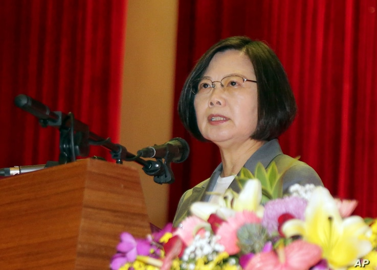 "In this photo released by Military News Agency, Taiwan's President Tsai Ing-wen delivers a speech during the Armed Forces Day ceremony in Taipei, Taiwan, Friday, Aug. 30, 2019. Tsai Ing-wen says the island has been ""aggressively promoting indigenous…"