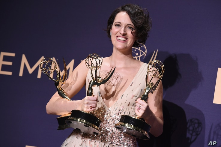 "Phoebe Waller-Bridge, winner of the awards for outstanding lead actress in a comedy series, outstanding comedy series and outstanding writing for a comedy series for ""Fleabag,"" poses in the press room at the 71st Primetime Emmy Awards on Sunday,…"