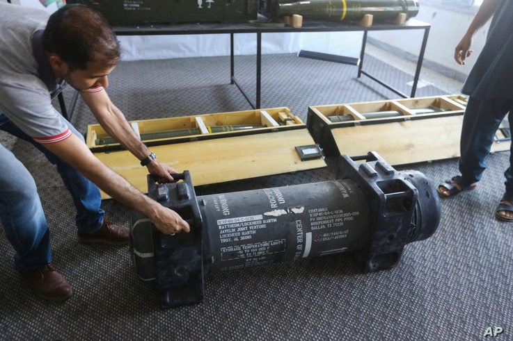 In this Saturday, June 29, 2019 photo, U.S.-made Javelin anti-tank missiles are displayed in Tripoli, Libya, after being captured from the self-styled Libyan National Army (LNA). France's Defense Ministry acknowledged that U.S.-made missiles…